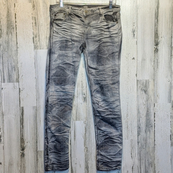 Almost Famous Denim - ALMOST FAMOUS Gray Acid Wash Skinny Jeans 13